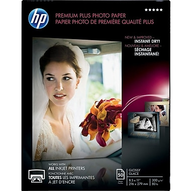 HP® - Papier photo Premium Plus, lustré, 8 1/2 po x 11 po, paq./50