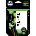 HP 74 Black Ink Cartridge (CZ069FN), Twin Pack