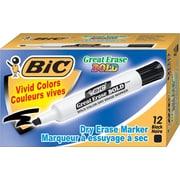 BIC Great Erase Bold Chisel Tip Dry Erase Markers, Black, Dozen (DEC11BK)