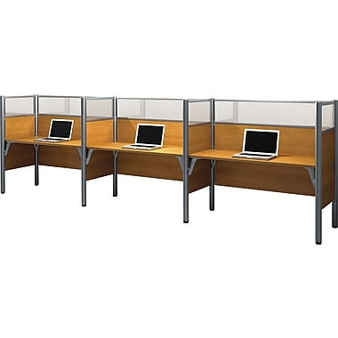 Bestar Pro-Biz Office System Triple Side-by-Side Workstation, Full Wall, Cappuccino Cherry