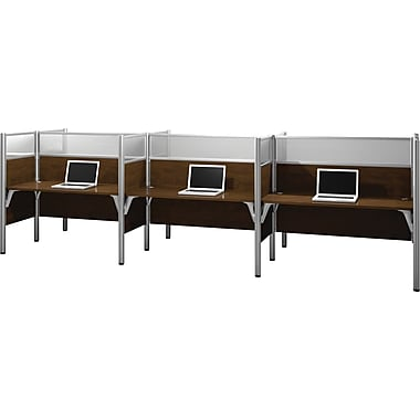 Bestar Pro-Biz Office System Six Straight Desk Workstation, Full Wall, Chocolate