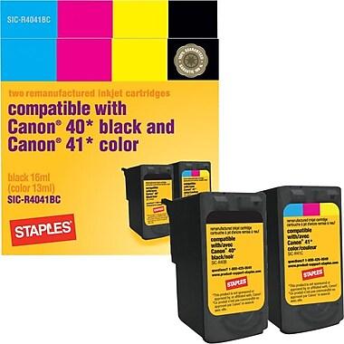 Staples® – Cartouches d'encre noire et couleur remises à neuf, Canon PG-40/CL-41, paquet combiné (SIC-R4041BC)