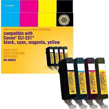 Staples® Reman Black/Colour Inkjet Cartridges, Canon CLI-221, Combo Pack (SIC-R80C4)