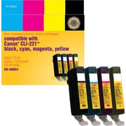 Staples® Reman Black/Colour Inkjet Cartridges, Canon CLI-221, Combo Pack (SIC-R80C4)