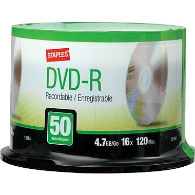 Staples® - DVD-R 4,7 Go, 16x, paq. cyl./50