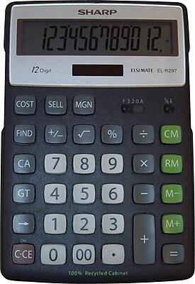 Sharp EL-R297BBK Desktop Recycled Calculator