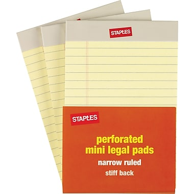 Staples® Mini Canary Legal Pad, 3/Pack