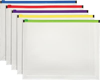 Staples® Poly Zip Envelopes, Assorted Color Zip, Letter Size, 5/pack