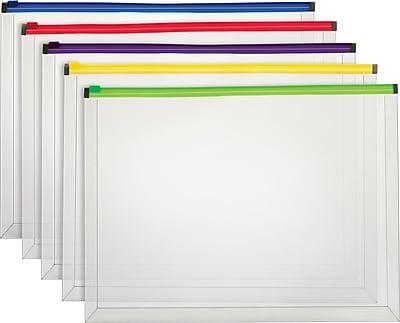 Staples® Poly Zip Envelopes, Assorted Color Zip, Legal Size