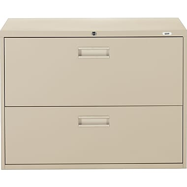 Staples® Lateral File Cabinet, 2-Drawer, Sand