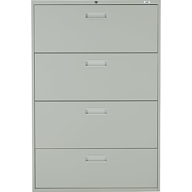 Staples® Lateral File Cabinet, 4-Drawer, Grey