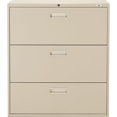 Staples® Lateral File Cabinet, 3-Drawer, Sand