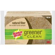 3M™ Scotch-Brite™ Greener Clean Natural Fiber Non-Scratch Scrub Sponges, Pack of 3 (97033)