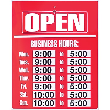 Cosco® 098072 Business Hours Sign Kit, Red