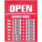 """Cosco® Sign Kit, Open-Closed Business Hours, 19"""" x 15"""", 1 each (098072)"""