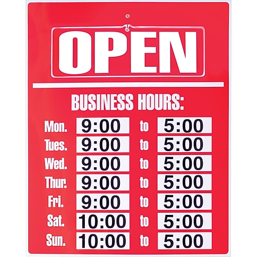 Cosco® Sign Kit, Open-Closed Business Hours, 19