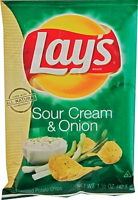 Lay's® Sour Cream & Onion Potato Chips, 1.5 oz. Bags, 64 Bags/Box