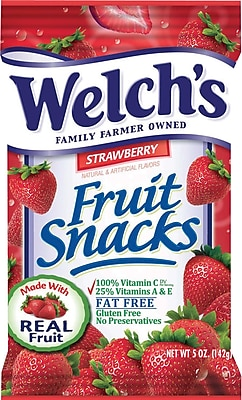 Welch's® Fruit Snacks, Strawberry, 5 oz. Bags, 12 Bags/Box