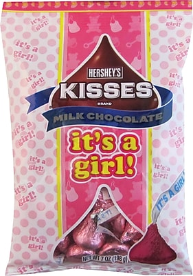 Hershey's Kisses Milk Chocolates with It's A Girl Plume, 7 oz., 12/Case