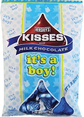 Hershey's Kisses Milk Chocolates with It's A Boy Plume; 7 oz., 12/Case