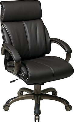 Office Star Work Smart Bonded Leather Executive 3 High-Back Chair, Espresso and Cocoa