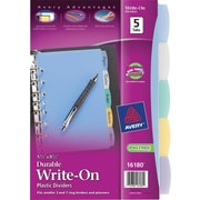 "Avery® 5-1/2"" x 8-1/2"" Durable Write-On 5-Tab Index Dividers, 1 Set/Pack"