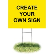 """Headline Sign® Corrugated Plastic Sign with Wire Stand, Yellow, 18"""" x 24"""""""