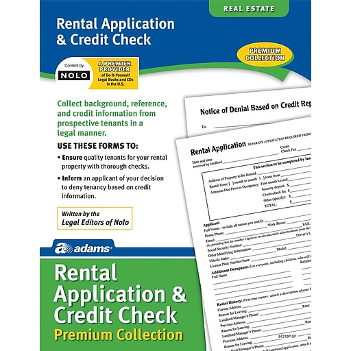 Adams Rental Application Credit Check Staples