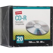 Staples® CD-R 52x 700MB/80min, Slim Jewel Cases, 20-Pack