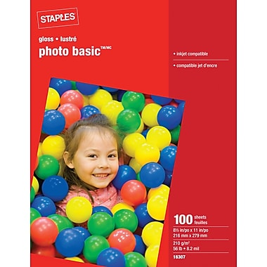 Staples® - Papier Photo lustré, 8 1/2 po x 11 po, lustré