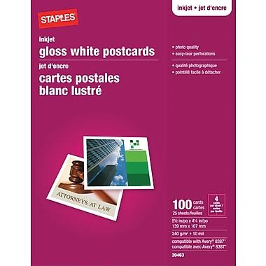 Staples® - Cartes postales pour imprimantes jet d'encre, 5 1/2 po x 4 1/4 po, lustrées, paq./100