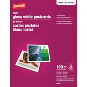 "Staples® Inkjet Postcards, 5-1/2"" x 4-1/4"", Gloss, 100-Pack"