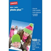 Staples® - Papier photo Plus, 4 po x 6 po, lustré