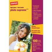 "Staples® Photo Supreme Paper, Glossy, 4"" x 6"", 100/Pack"
