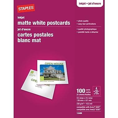 Staples® - Cartes postales pour imprimantes jet d'encre, 5 1/2 po x 4 1/4 po, mates, paq./100