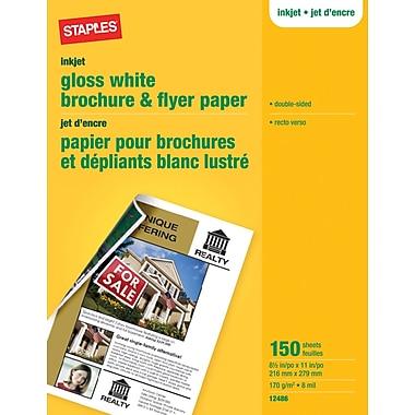 Staples® – Papier pour brochures et circulaires, 8 1/2 po x 11 po, blanc lustré, paq./150