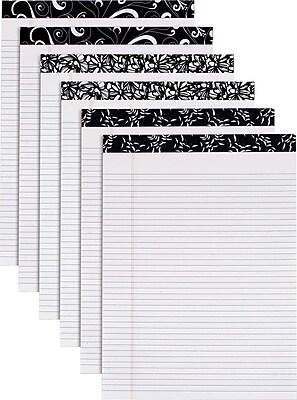 TOPS® Designer Narrow Ruled Pads; Black/White