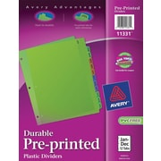 Avery® Preprinted Monthly Plastic Dividers, Jan.-Dec., Multicolor, 12/Pack (1331)