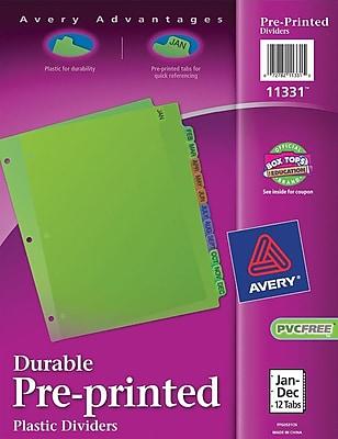 Avery® Preprinted Jan-Dec Dividers Plastic, Multicolor, 8 1/2