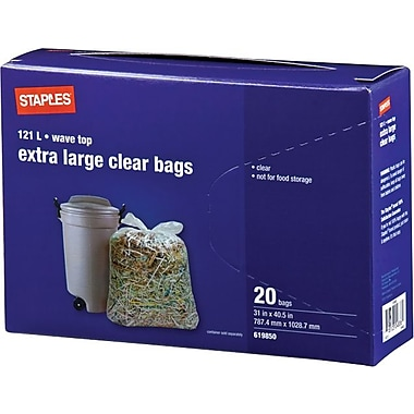 Staples® Clear Leaf and Grass Bags, 31