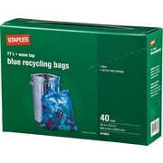 Staples Recycling Bags, Blue, 77L, 40-Pack