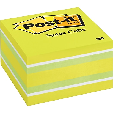 Post-it® - Feuillets en cube, vague bleue, 3 po x 3 po, 470 feuillets par cube