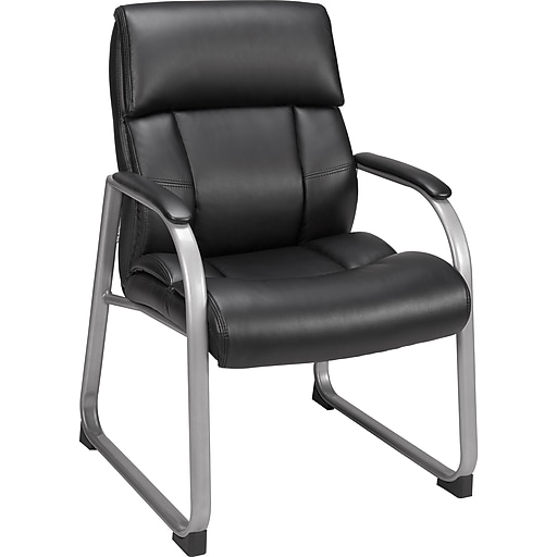 Staples Herrick Bonded Leather Guest Chair Black Rollover Image To Zoom In S 3p Com S7 Is