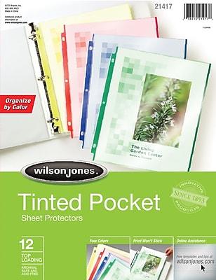 Wilson Jones® Tinted Pockets Sheet Protectors 12 Pack, Assorted Color