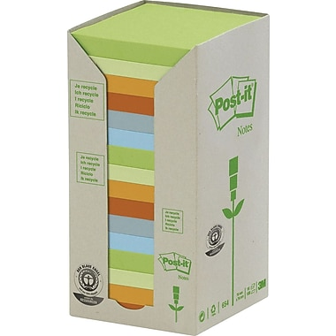 Post-it® Recycled Assorted Pastel Towers, 3