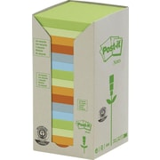 Post-it® - Feuillets recyclés en tour, couleurs pastel, 3 po x 3 po, paq./16 blocs