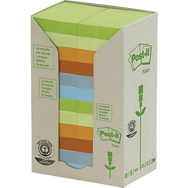 Post-it® - Feuillets recyclés en tour, couleurs pastel, 1,5 po x 2 po, paq./24 blocs