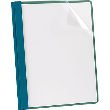 Earthwise® by Oxford® 100% Recycled Clear Front Report Covers, Letter Size, Blue