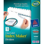 Avery® Index Maker Clear-Label Tab Dividers, 5-Tab, White Dividers, 50 Sets/Pack (11556)