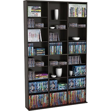 atlantic oskar media tower cabinet espresso finish - Dvd Storage Cabinet
